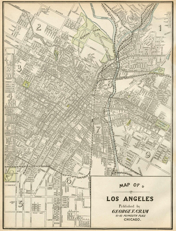 Noirish Los Angeles Page  SkyscraperPage Forum - Vintage los angeles map poster